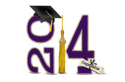Purple and gold 2014 graduation. Gold tassel and black graduation cap with purple 2014 on white Stock Photography