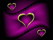 Purple and Gold Hearts Valentines Background Royalty Free Stock Photos
