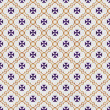 Purple and Gold Maltese Cross Symbol Tile Pattern Repeat Backgro Royalty Free Stock Image