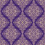 Purple and gold oriental seamless pattern. royalty free illustration