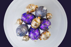 Purple and Gold Ornaments Stock Photography