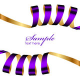 Purple and gold ribbon frame Stock Images