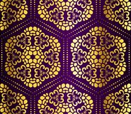 Purple and gold seamless honeycomb arabesque Royalty Free Stock Image