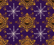 Purple Gold Star Night Pattern. Purple Gold Stars Night Seamless Pattern Stock Images