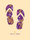 Purple and gold underwater plants flip flops Royalty Free Stock Photos
