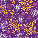 Purple and gold underwater plants seamless pattern. Vector purple and gold underwater plants seamless pattern background with hand drawn elements Stock Photography