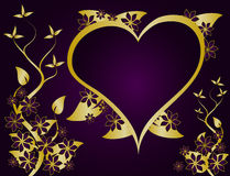 Purple and Gold Valentines Vector Stock Image