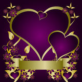 Purple and Gold Valentines Vector stock photo