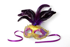 Purple and Gold Venetian Mask on White Stock Images