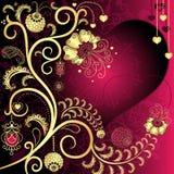 Vintage valentine card. Purple and gold vintage valentine card with hearts and gold branch and flowers (vector EPS 10 Stock Images