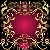 Purple-gold vintage valentine frame Royalty Free Stock Photography