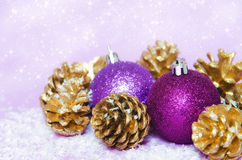 Purple-golden christmas stock photos