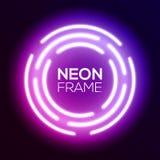 Purple gradient neon light frame. Techno circles. Royalty Free Stock Photography