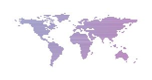 Purple gradient World map made from lines, vector illustration isolated on white background. Purple gradient World map made from lines, vector illustration stock illustration
