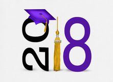 Purple graduation hat for 2018. Purple graduation cap on text with gold tassel for class of 2018 on soft white textured background Stock Photography