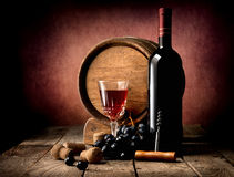 Purple grape and wine Stock Image