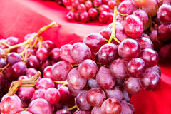 Purple grapes on a red cloth. Royalty Free Stock Photos