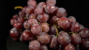 Purple grapes turning on a black background, seamless looping. Bunch of juicy ripe purple grapes rotates against black background. Closeup view shot with stock footage