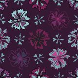Purple Graphic Large Scale Flower Blooms Pattern. Seamless Vector Repeat Background for Trendy Fashion Prints, Retro 60s 70s Petal Power Wrapping Textiles vector illustration