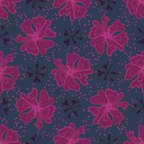 Purple Graphic Large Scale Flower Blooms Pattern, Seamless. Vector Repeat Background for Trendy Fashion Prints, Retro Petal Power Wrapping,Textiles, Dotty vector illustration
