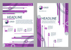Purple and gray color scheme Book Cover Design Template in A4. Royalty Free Stock Images