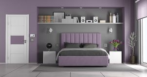 Purple and gray master bedroom royalty free stock image