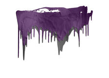 Purple and gray paints dripping isolated Royalty Free Stock Images