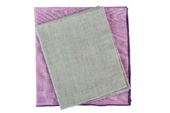 Purple and gray textile napkins on white Royalty Free Stock Photography