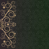 Purple-green background with golden lace floral ornament border Royalty Free Stock Images