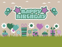 Purple and green birthday Stock Image