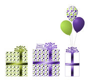 Purple and Green Birthday Gifts and Ballons. Three beautiful green and purple gifts with polka dots. One white gift with purple ribbon and bow. Center gift has royalty free illustration