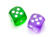 Purple and green dice Stock Image