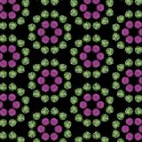Pink flowers and green leaves in a repeating pattern. Purple and green floral pattern with black background. for textile, fabric, backgrounds, backdrops and vector illustration