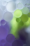 Purple, Green Gradient Oil drops in the water -abstract background Royalty Free Stock Photos