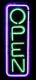 Purple and Green Neon Open Sign. Lights up the night Royalty Free Stock Photo