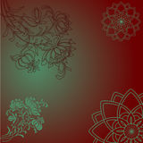 Purple and green orientsl floral design Stock Images