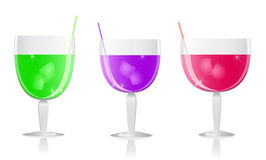Purple green pink cocktails set Stock Photos