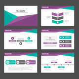 Purple Green polygon infographic element and icon presentation templates flat design set for brochure flyer leaflet website Stock Image
