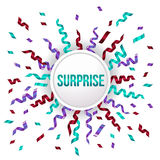 Purple, green and red ribbon and surprise circle banner , vector illustration Stock Photo