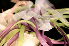 Purple and green ribbon. A background of purple and green grosgrain ribbon Royalty Free Stock Photo
