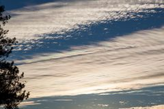 Sunset Sky with Clouds. Purple and green ribbons of color reflected in white clouds by the setting sun with a blue sky background Royalty Free Stock Photo