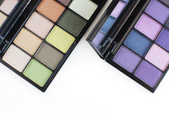 Purple and green tone eye shadows makeup palette Stock Image