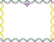 Purple, Green and Yellow Mardi Gras Beads Border. For poster, invitation, flyer