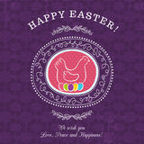 Purple greetings card for Easter Day with hen Royalty Free Stock Images