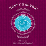 Purple greetings card for Easter Day with rabbit Royalty Free Stock Photography