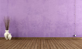 Purple grunge interior Stock Photos