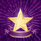 Purple grunge rays. Blank golden movie star on purple grunge rays Stock Image