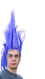 Purple Hair Dude. Crazy wacky young male Caucasian adult with purple hair that stands straight up Stock Images