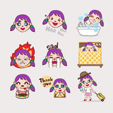 Purple hair girl emotion cartoon. Purple hair girl cartoon emotion Royalty Free Stock Images