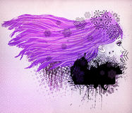 Purple hair girl illustration Royalty Free Stock Photography